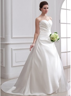 Ball-Gown Sweetheart Chapel Train Satin Wedding Dress With Ruffle (002001715)