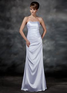 Etui-Linie Herzausschnitt Bodenlang Charmeuse Abendkleid mit Rüschen (017022547)
