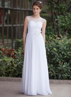 A-Linie/Princess-Linie U-Ausschnitt Bodenlang Chiffon Tüll Brautkleid mit Rüschen Blumen (016026255)