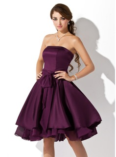 A-Line/Princess Strapless Knee-Length Satin Chiffon Bridesmaid Dress With Ruffle Bow(s) (007051876)