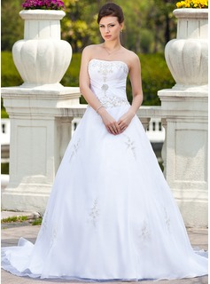 Ball-Gown Sweetheart Chapel Train Satin Tulle Wedding Dress With Embroidery Beading (002000299)