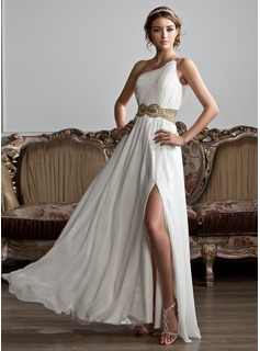 A-Line/Princess One-Shoulder Floor-Length Chiffon Prom Dress With Ruffle Beading Sequins (018020706)