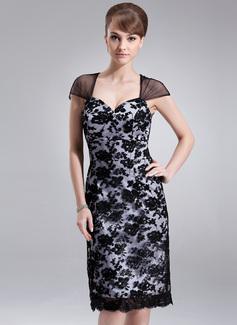 Etui-Linie Herzausschnitt Knielang Charmeuse Spitze Kleid für die Brautmutter (008005935)