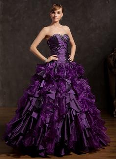 Duchesse-Linie Herzausschnitt Bodenlang Organza Quinceañera Kleid (Kleid für die Geburtstagsfeier) mit Perlen verziert Gestufte Rüschen (021015148)