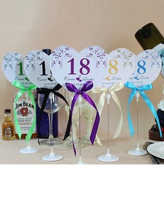 Personalized Heart Shaped Paper Table Number Cards With Holder With Ribbons (Set of 10) (118032239)