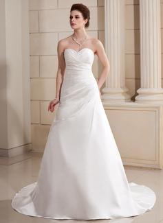 Corte A/Princesa Escote corazón Cola capilla Satén Vestido de novia con Volantes Bordado (002000686)