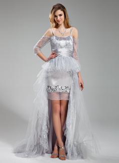 Forme Princesse Bustier en coeur Traîne asymétrique Détachable Tulle Charmeuse Robe bal d'étudiant avec Dentelle Emperler Sequins (018019751)
