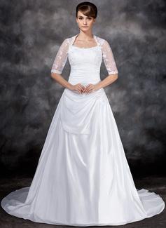 Forme Princesse Col rond Traîne moyenne Taffeta Tulle Robe de mariée avec Plissé Dentelle (002017121)
