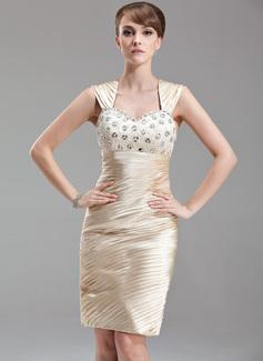 Etui-Linie Herzausschnitt Knielang Charmeuse Kleid für die Brautmutter mit Rüschen Perlen verziert (008006020)