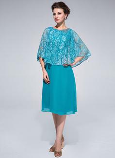 Etui-Linie U-Ausschnitt Knielang Chiffon Spitze Kleid für die Brautmutter mit Perlen verziert (008025714)