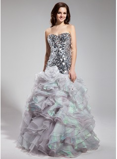 Trumpet/Mermaid Sweetheart Floor-Length Organza Sequined Prom Dress With Beading Cascading Ruffles (018018898)