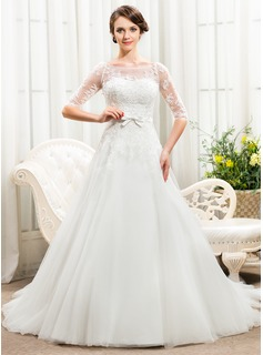 A-Line/Princess Off-the-Shoulder Chapel Train Satin Tulle Lace Wedding Dress With Beading Sequins Bow(s) (002056466)