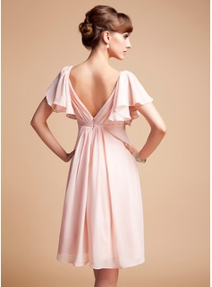 Formal Dresses Empire Sweetheart Knee-Length Chiffon Bridesmaid Dress With Ruffle (007004126)