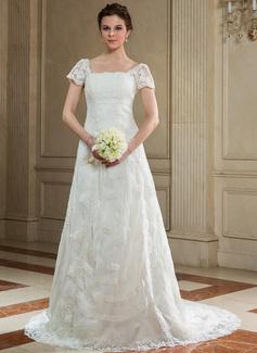 Forme Princesse Encolure carrée Traîne moyenne Organza Robe de mariée avec Dentelle Emperler (002012689)