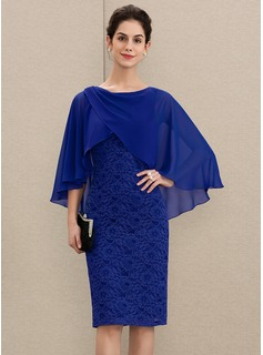 Sheath/Column Scoop Neck Knee-Length Chiffon Lace Mother of the Bride Dress With Ruffle (008179188)