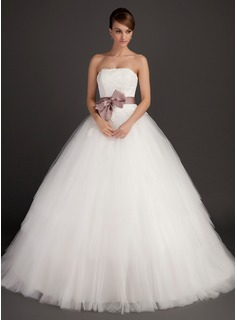 Ball-Gown Strapless Sweep Train Satin Tulle Wedding Dress With Lace Sash Bow(s) (002015495)