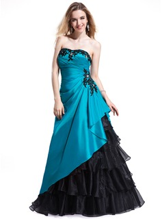 A-Line/Princess Sweetheart Floor-Length Taffeta Organza Prom Dresses With Beading Appliques Lace Cascading Ruffles (018025298)