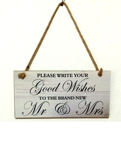 Delicate/Square Design Wooden Wedding Sign (131186044)