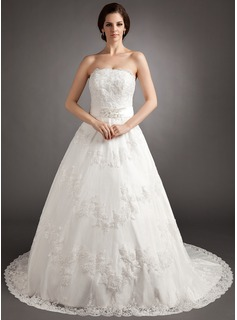 A-Line/Princess Strapless Chapel Train Tulle Wedding Dress With Beading Appliques Lace Bow(s) (002012218)