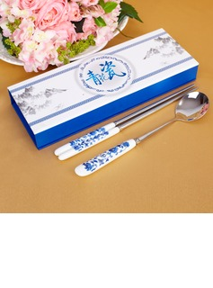 Blue-and-white Ceramics Design Stainless Steel Spoon and Chopsticks Set (051026880)