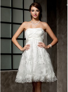 Empire Strapless Knee-Length Satin Lace Wedding Dress With Ruffle Beading (002000221)