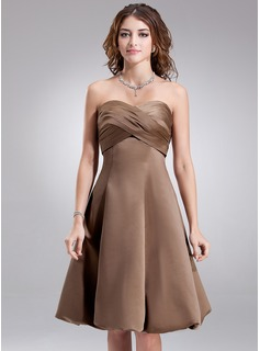 Empire Sweetheart Knee-Length Satin Bridesmaid Dress With Ruffle (007001880)