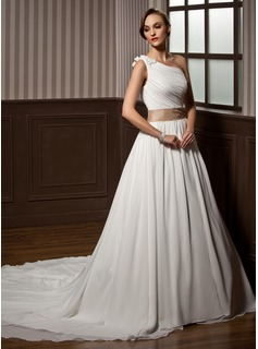 A-Line/Princess One-Shoulder Chapel Train Chiffon Charmeuse Wedding Dress With Ruffle Sash Beading Flower(s) (002011564)