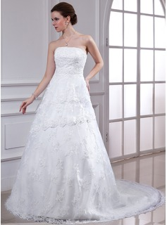 A-Line/Princess Strapless Chapel Train Satin Lace Wedding Dress With Beading (002000344)