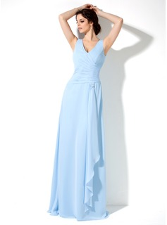A-Line/Princess V-neck Floor-Length Chiffon Bridesmaid Dress With Cascading Ruffles (007001852)