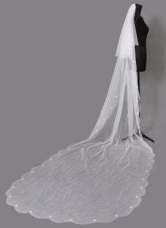 Dos capas Con abalorios Velos de novia capilla con La perla de faux (006203720)