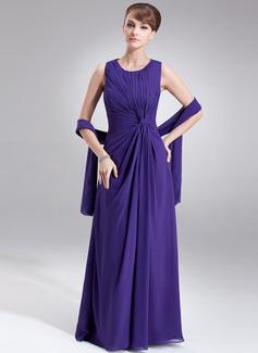 A-Linie/Princess-Linie U-Ausschnitt Bodenlang Chiffon Kleid für die Brautmutter mit Rüschen (008005977)