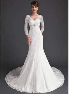Cheap Wedding Dresses Mermaid V-neck Court Train Satin Lace Wedding Dress With Beadwork (002011525)