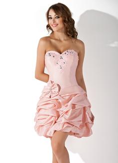 Forme Princesse Bustier en coeur Court/Mini Taffeta Robe de soirée étudiante avec Plissé Emperler (022020992)