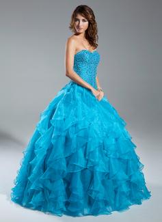 Duchesse-Linie Herzausschnitt Bodenlang Organza Quinceañera Kleid (Kleid für die Geburtstagsfeier) mit Perlen verziert Gestufte Rüschen (021015343)