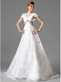 A-Line/Princess Square Neckline Chapel Train Satin Lace Wedding Dress With Sash Crystal Brooch Bow(s) (002000125)