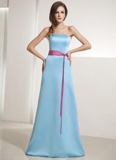 Vestido tubo Estrapless Hasta el suelo Satén Dama de honor con Fajas (007014199)