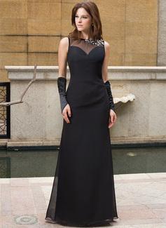 Etui-Linie U-Ausschnitt Bodenlang Chiffon Abendkleid mit Perlen verziert (022027394)