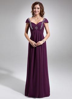 Empire-Linie Herzausschnitt Bodenlang Chiffon Kleid für die Brautmutter mit Rüschen Perlen verziert (008006047)