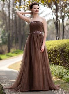 Empire-Linie Trägerlos Sweep/Pinsel zug Tüll Kleid für die Brautmutter mit Rüschen Perlen verziert (008018735)