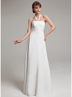 Empire Halter Floor-Length Chiffon Charmeuse Wedding Dress With Ruffle (002011992)