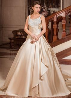 Robe Marquise Amoureux Traîne moyenne Satiné Robe de mariée avec Dentelle Brodé Robe à volants (002012634)