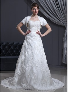 A-Line/Princess Sweetheart Chapel Train Satin Tulle Wedding Dress With Beading Appliques Lace (002000310)