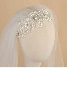 One-tier Cut Edge Elbow Bridal Veils With Rhinestones/Faux Pearl (006190601)