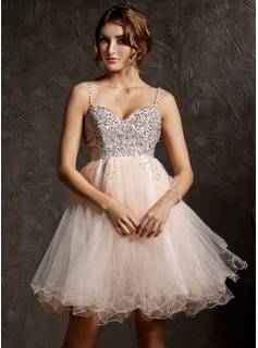 Sweet Sixteen Dresses Empire Sweetheart Knee-Length Tulle Homecoming Dress With Beading Sequins (022008941)