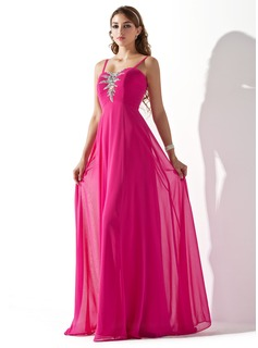 A-Line/Princess Sweetheart Floor-Length Chiffon Prom Dress With Ruffle Beading (018013787)