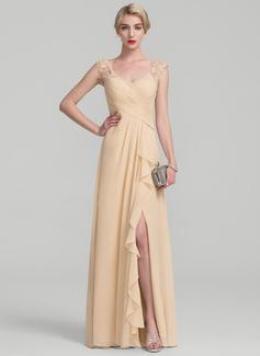 A-Linie/Princess-Linie Bodenlang Chiffon Spitze Kleid für die Brautmutter mit Schlitz Vorn Gestufte Rüschen (008114251)