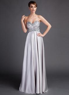 Empire-Linie Schatz Sweep/Pinsel zug Charmeuse Kleid für die Brautmutter mit Rüschen Perlen verziert (008015899)