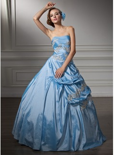 Ball-Gown Sweetheart Floor-Length Taffeta Quinceanera Dress With Ruffle Beading Appliques Lace Sequins (021002910)