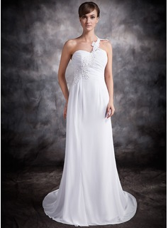 A-Line/Princess One-Shoulder Chapel Train Chiffon Wedding Dress With Ruffle Appliques (002016920)