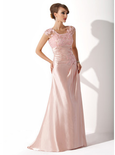 A-Line/Princess Scoop Neck Sweep Train Charmeuse Lace Mother of the Bride Dress With Ruffle Beading Sequins (008005616)